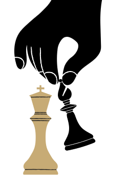 Large chess pieces being moved by a Silhouette hand.